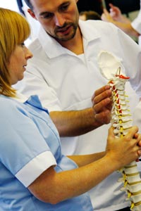 Image of students learning about the spine